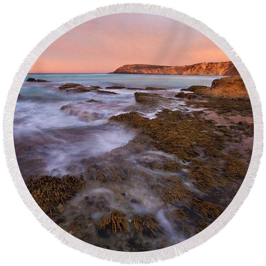 Sunrise Round Beach Towel featuring the photograph Red Dawning by Mike Dawson