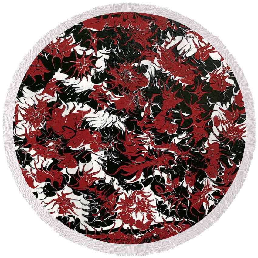 Keith Elliott Round Beach Towel featuring the painting Red Devil U - V1lle30 by Keith Elliott