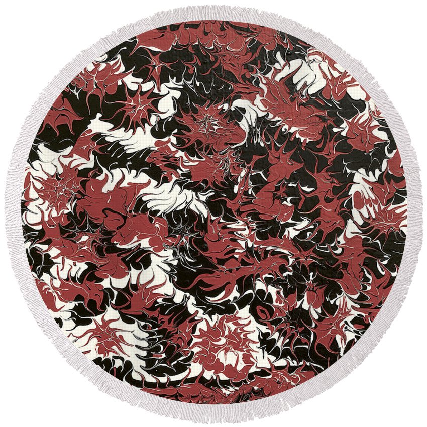 Keith Elliott Round Beach Towel featuring the painting Red Devil U - V1lw64 by Keith Elliott