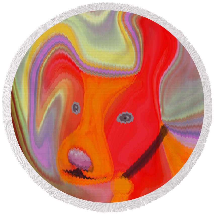 Abstract Round Beach Towel featuring the digital art Red Dog by Ruth Palmer