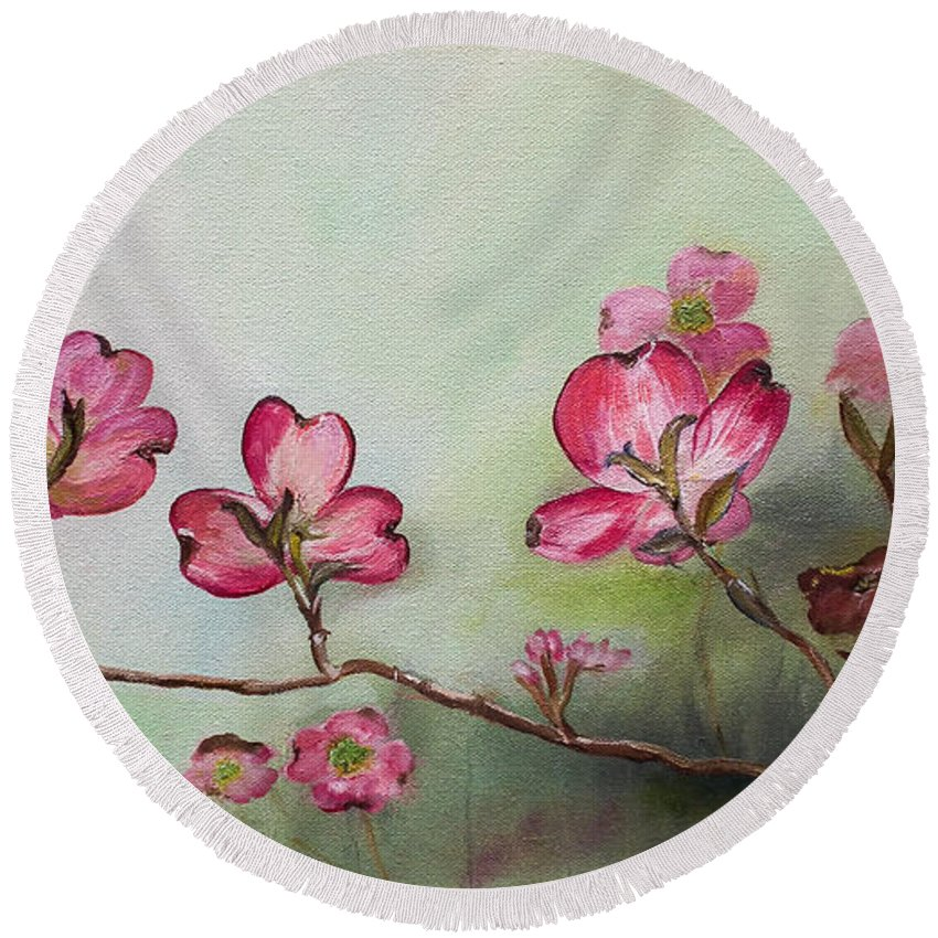 Red Dogwood Round Beach Towel featuring the painting Red Dogwood - Cherokee - Springtime by Jan Dappen