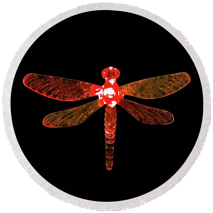 Red Dragonfly Round Beach Towel