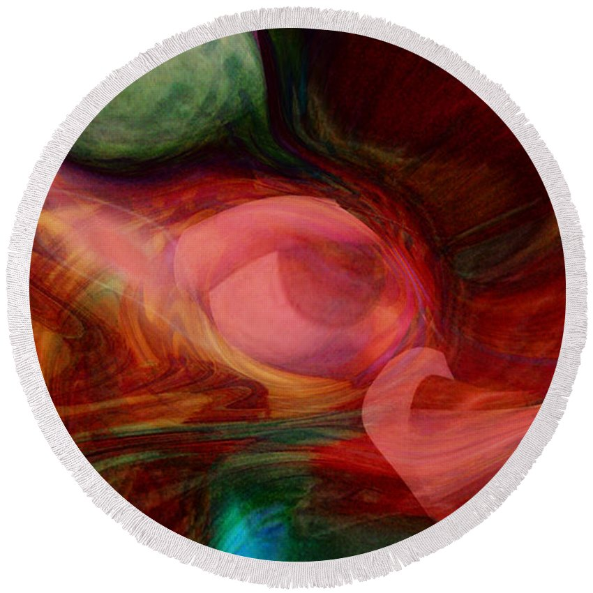 Abstract Art Round Beach Towel featuring the digital art Red Eye by Linda Sannuti