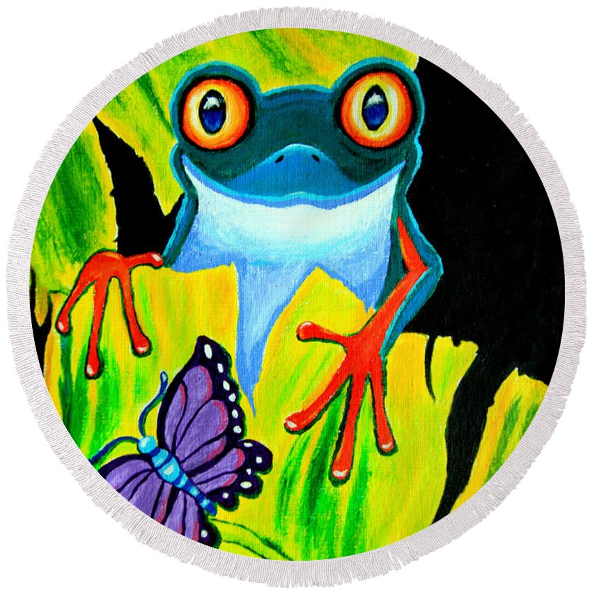 Red Eyed Tree Frog Round Beach Towel featuring the painting Red Eyed Tree Frog And Purple Butterfly by Nick Gustafson