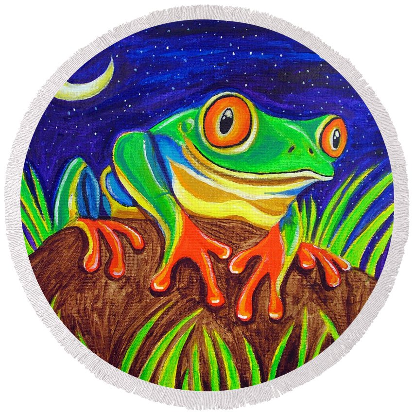Red-eyed Tree Frog Round Beach Towel featuring the painting Red-eyed Tree Frog And Starry Night by Nick Gustafson