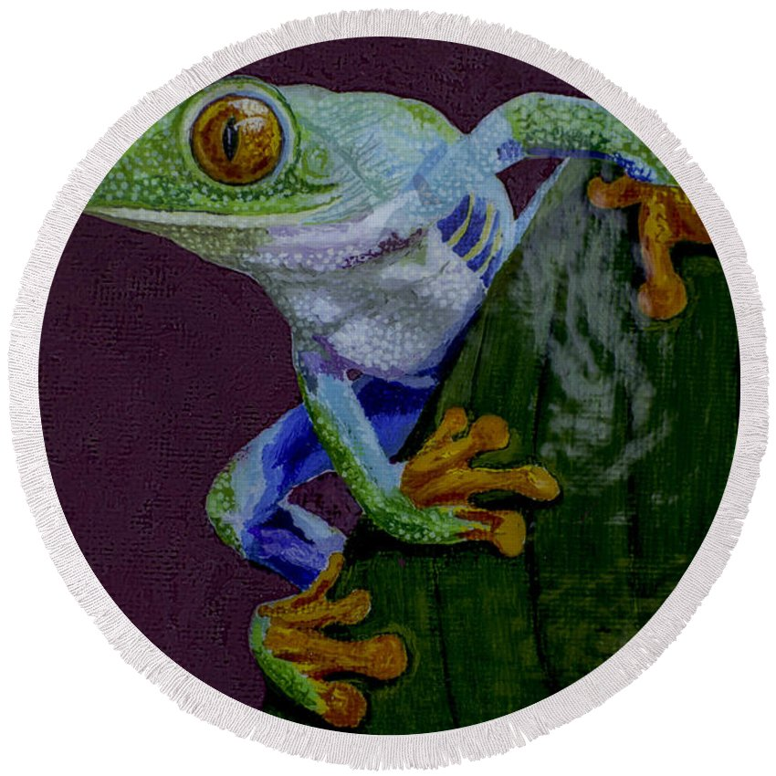 Red Eyed Round Beach Towel featuring the painting Red Eyed Tree Frog Original Oil Painting 4x6in by Manuel Lopez
