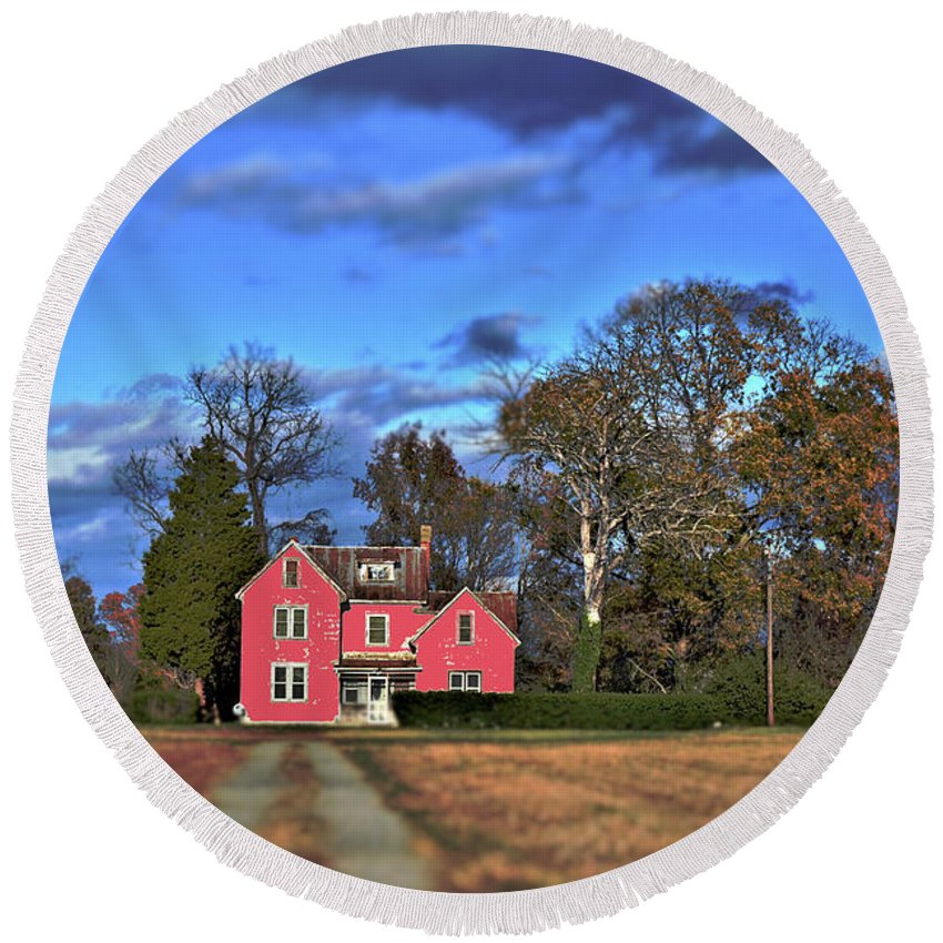 Road Round Beach Towel featuring the photograph Red Farm House by Edna Weber