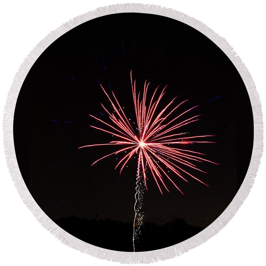 Red Round Beach Towel featuring the photograph Red Fireworks by Emily Smith