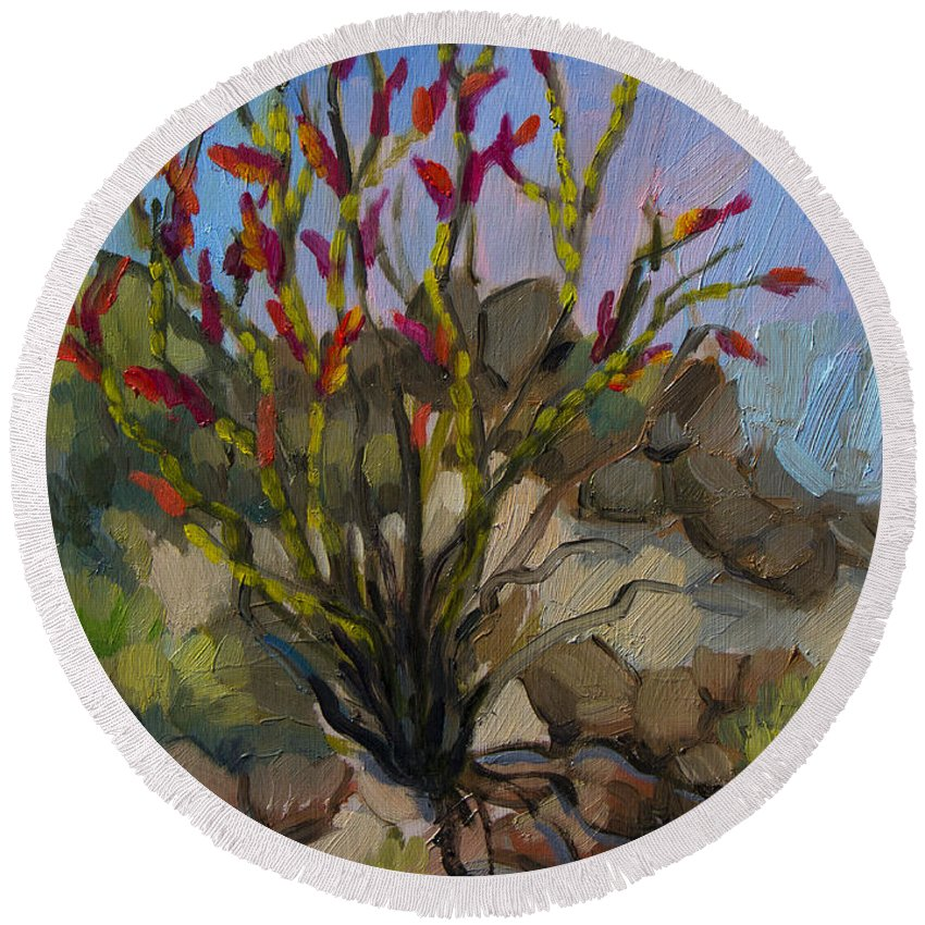 Ocotillo Round Beach Towel featuring the painting Red Flame Ocotillo 5 by Diane McClary
