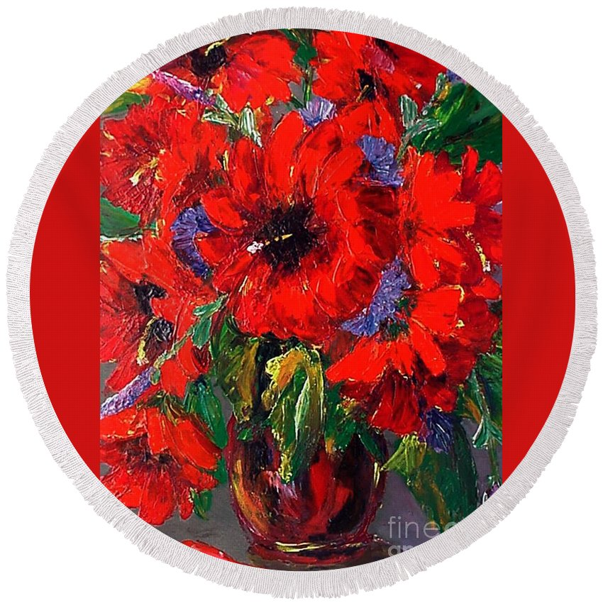 Red Round Beach Towel featuring the painting Red Floral by Beverly Boulet