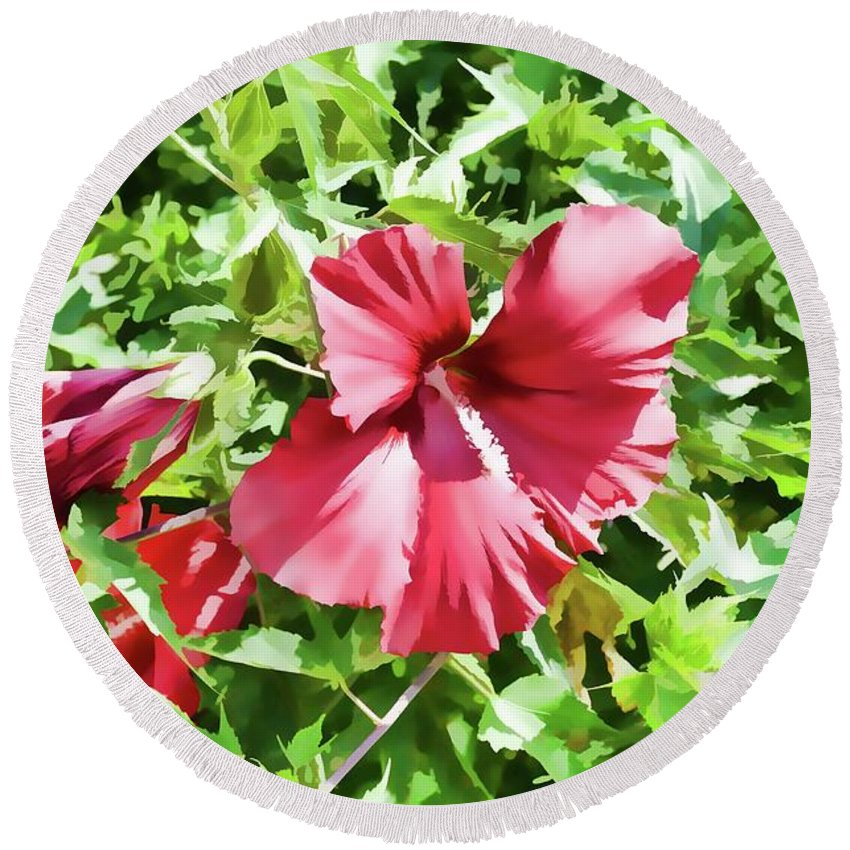 Many Round Beach Towel featuring the painting Red Flower by Jeelan Clark
