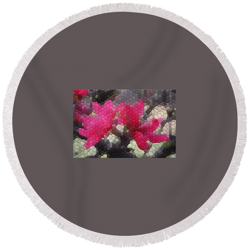 Peach Round Beach Towel featuring the photograph Red Flowered Peach by Kathryn Meyer