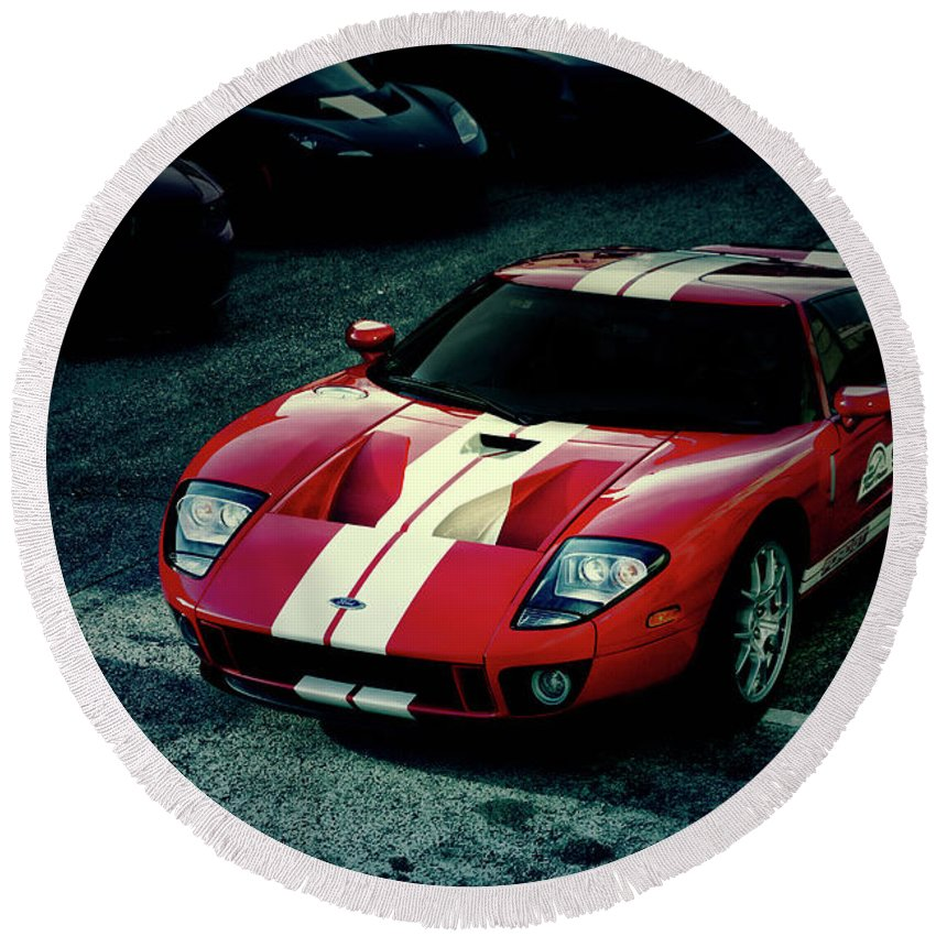 Red Round Beach Towel featuring the photograph Red Ford Gt by Joel Witmeyer