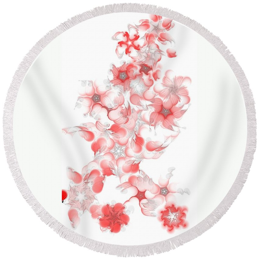 Digital Photograph Round Beach Towel featuring the digital art Red Fractal Floral Pattern by David Lane