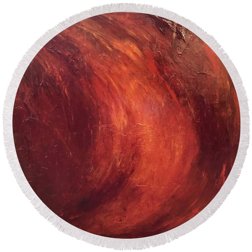 Red Gold Abstract Painting John Cammarano Round Beach Towel featuring the painting Red-gold by John Cammarano