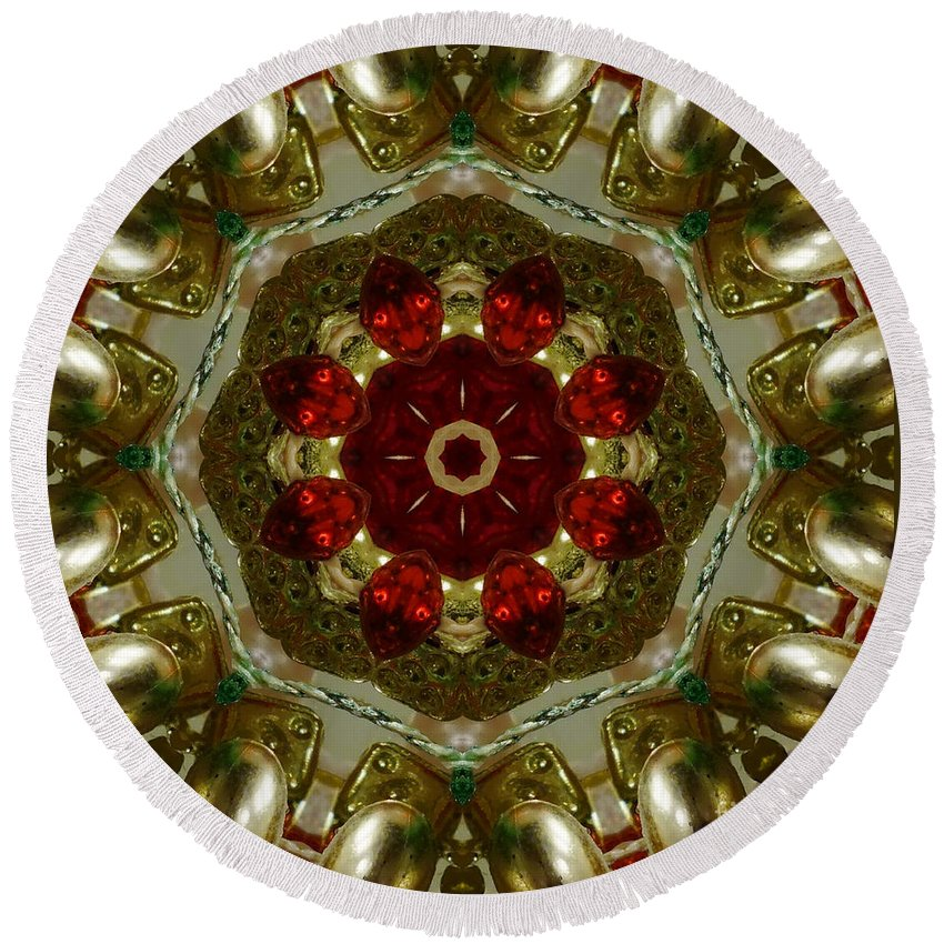 Red Round Beach Towel featuring the digital art Red Gold Kaleidoscope 2 by Chandra Nyleen
