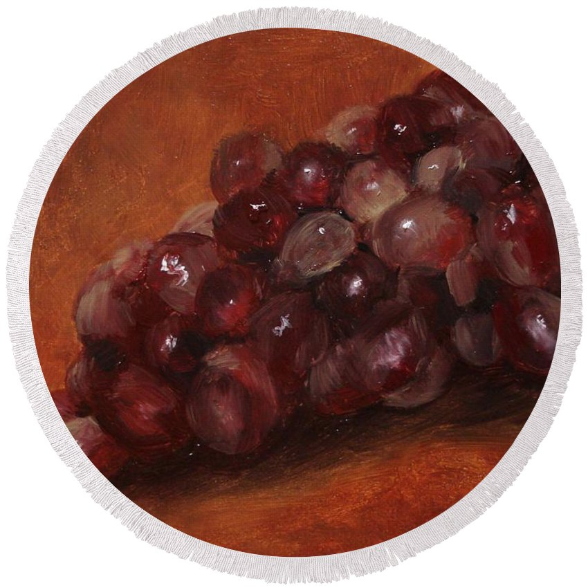 Fruit Round Beach Towel featuring the painting Red Grapes by Barbara Andolsek