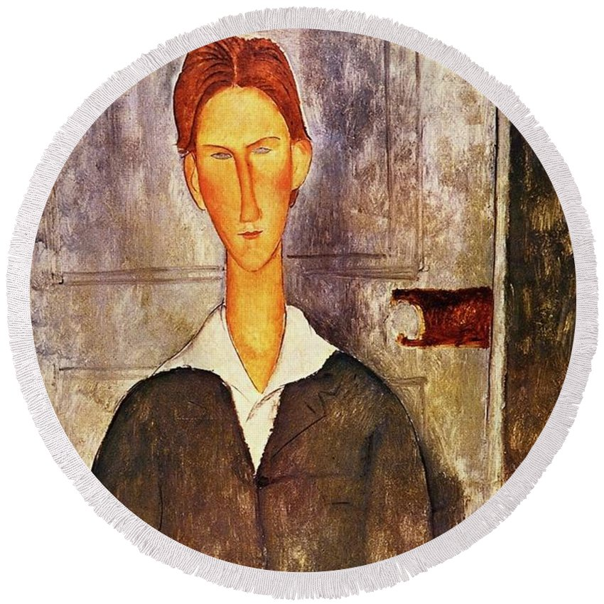 7ef8ff35728 Red Haired Young Man Round Beach Towel featuring the painting Red Haired  Young Man Amedeo Modigliani
