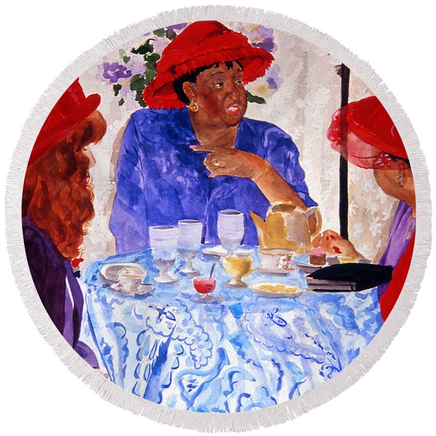 Red Hat Round Beach Towel featuring the painting Red Hatters Chatter by Jean Blackmer