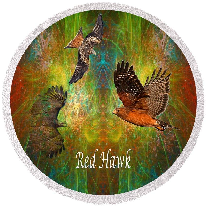 Red Hawk Round Beach Towel featuring the digital art Red Hawk Moon by Rich Baker