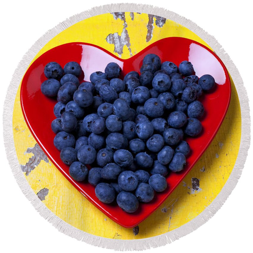 Red Heart Shaped Plate Round Beach Towel featuring the photograph Red Heart Plate With Blueberries by Garry Gay