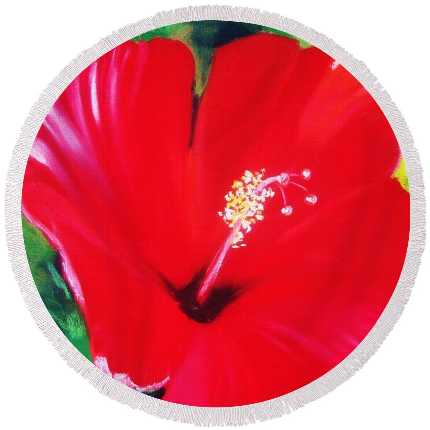Bright Flower Round Beach Towel featuring the painting Red Hibiscus by Melinda Etzold