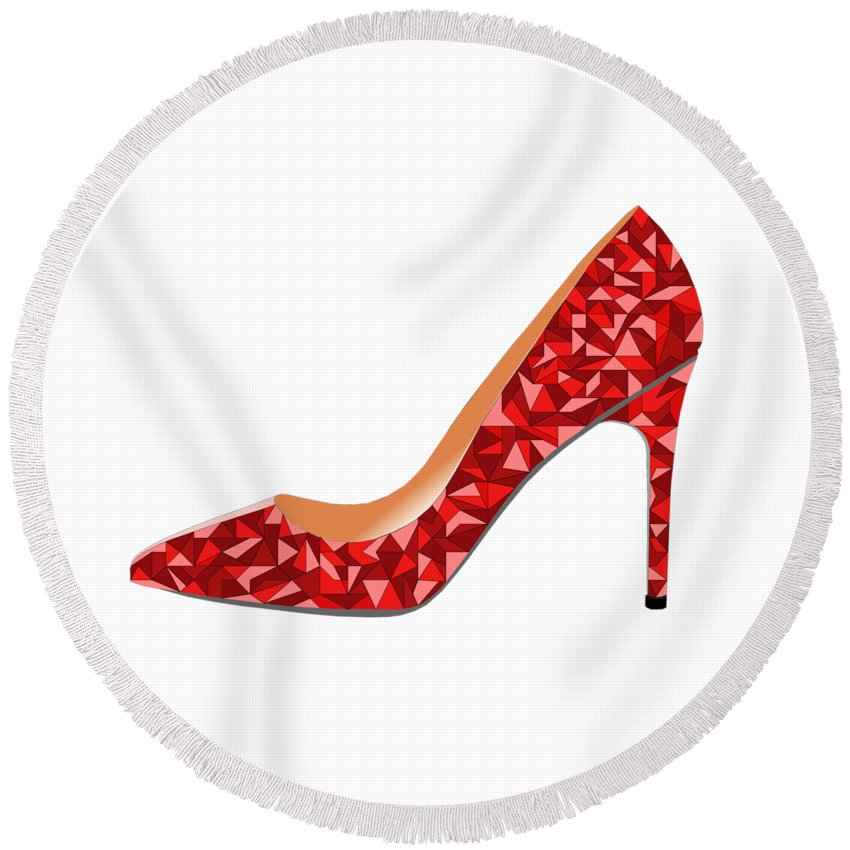Shoe High Heals Heels Stiletto Red Fashion Trend Shopping Style Glamour Glam Glamor Party Girly Girls Night Out Round Beach Towel featuring the digital art Red High Heel Shoe by David Smith