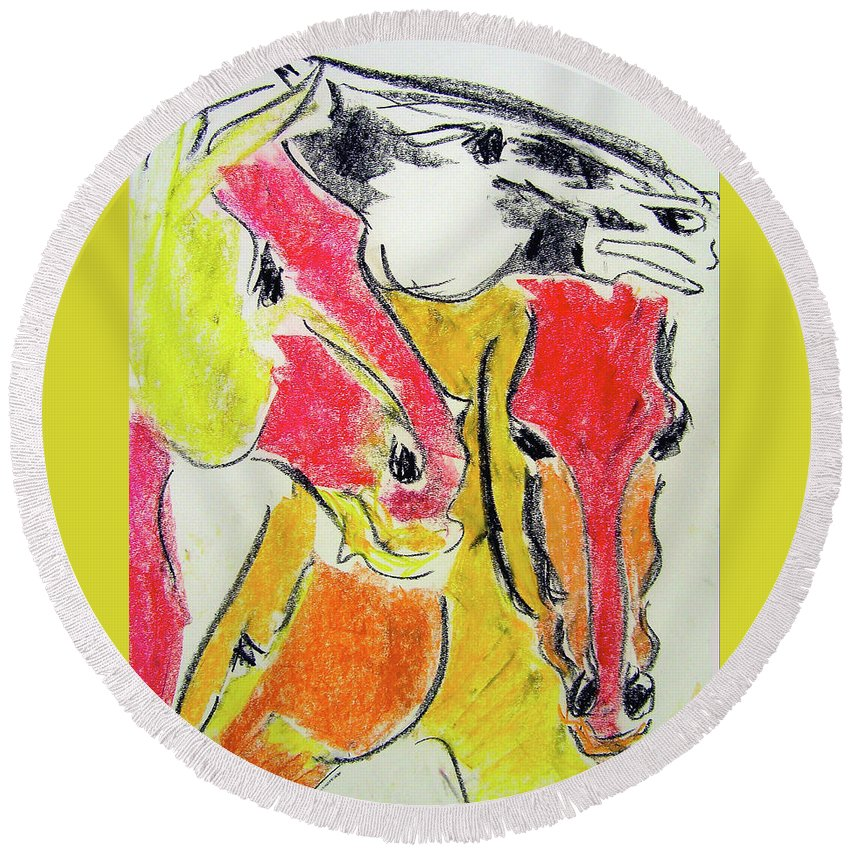Horse Round Beach Towel featuring the drawing Red Horses by Donna Bernstein