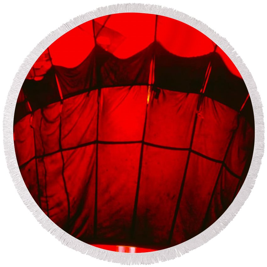 Balloon Round Beach Towel featuring the photograph Red Hot Air Balloon by Thomas Marchessault