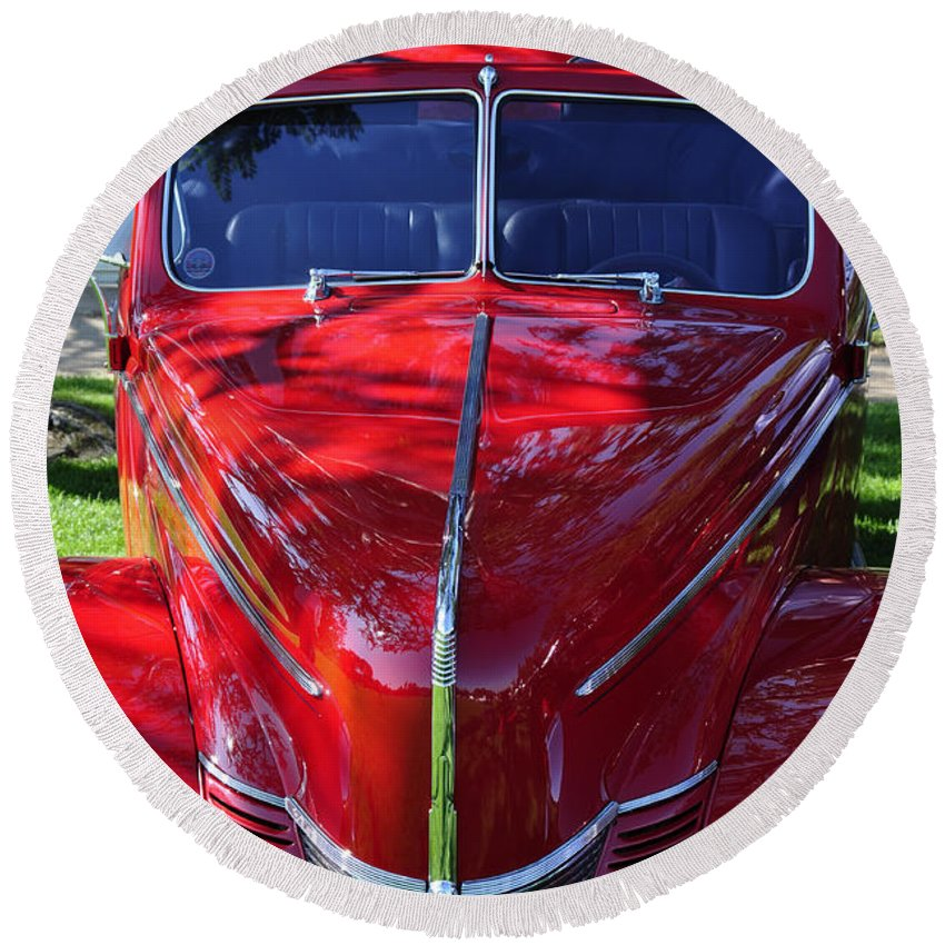 Clay Round Beach Towel featuring the photograph Red Hot Rod by Clayton Bruster