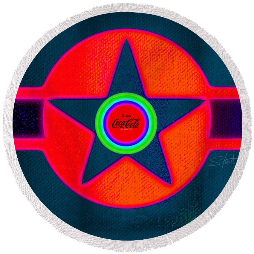 Usaaf Round Beach Towel featuring the painting Red Intense by Charles Stuart