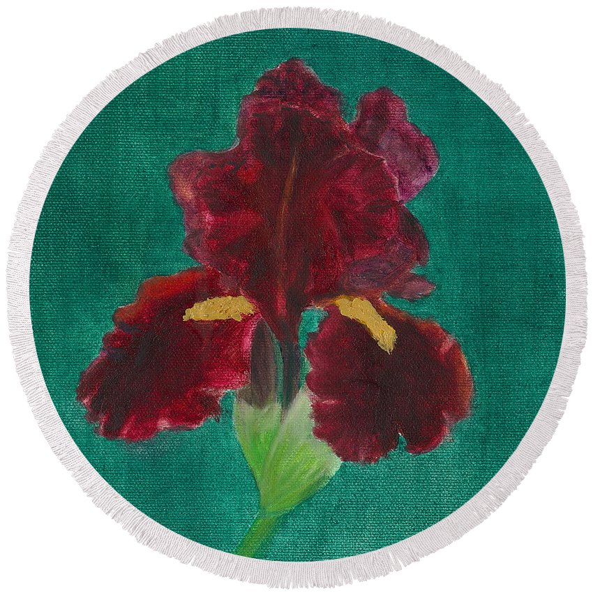 Flower Round Beach Towel featuring the painting Red Iris by Paula Emery