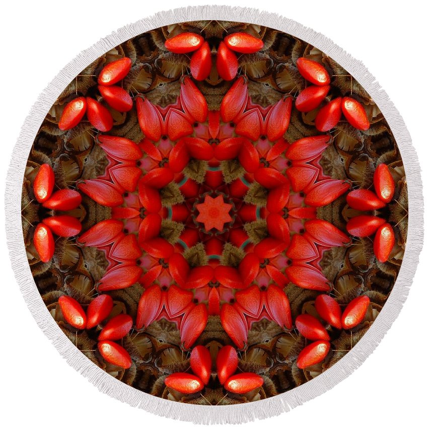 Kaleidoscope Round Beach Towel featuring the digital art Red Kaleidoscope No. 1 by Lyle Hatch