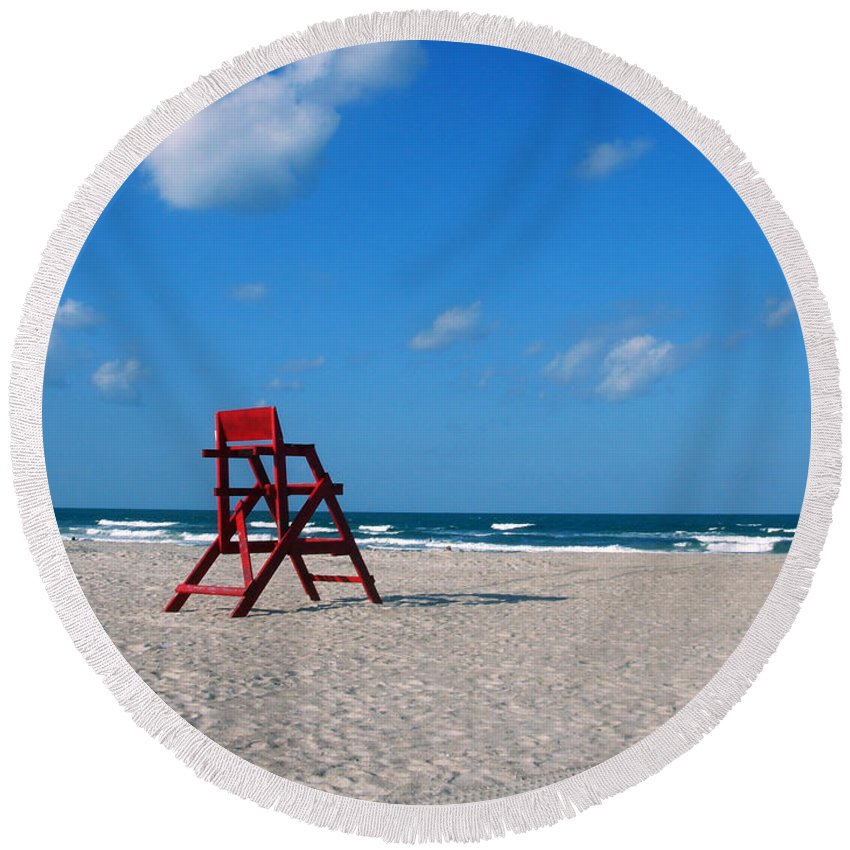 Photography Round Beach Towel featuring the photograph Red Life Guard Chair by Susanne Van Hulst