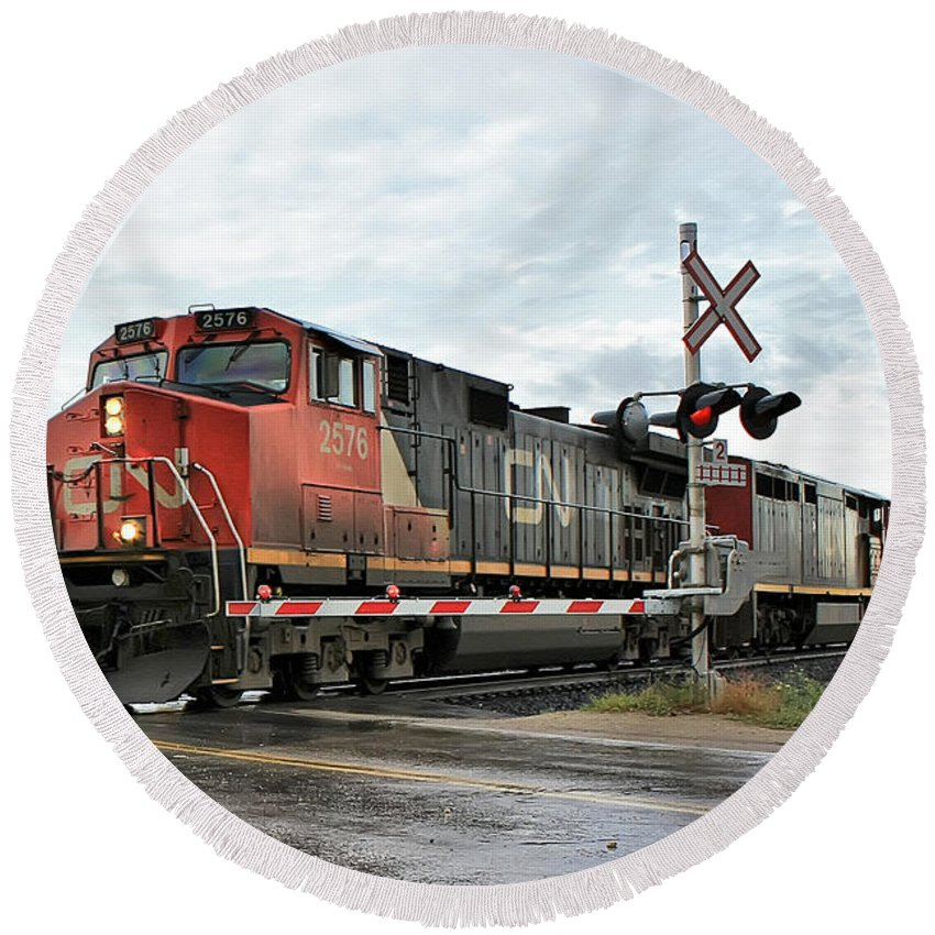 Train Round Beach Towel featuring the photograph Red Locomotive by Teresa Zieba