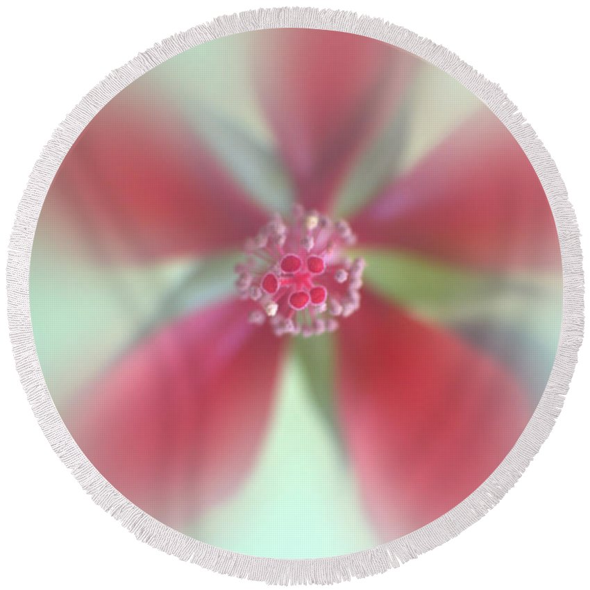 Abstract Round Beach Towel featuring the photograph Red Macro Floral Art by Ella Kaye Dickey