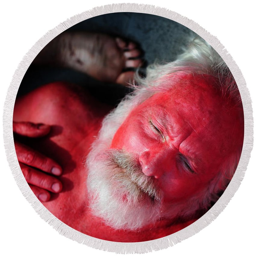 Red Round Beach Towel featuring the photograph Red Man by Rafa Rivas