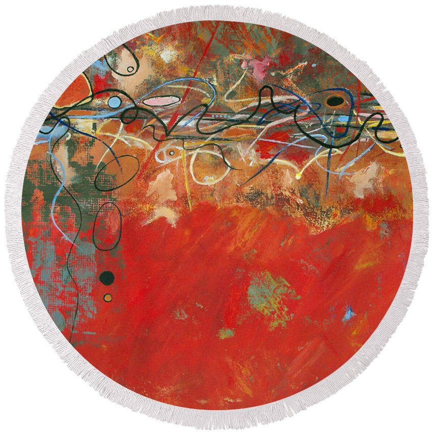 ruth Palmer Abstract Gestural Color Red Painting Acrylic Black Orange Blue Yellow Green Decorative Round Beach Towel featuring the painting Red Meander by Ruth Palmer