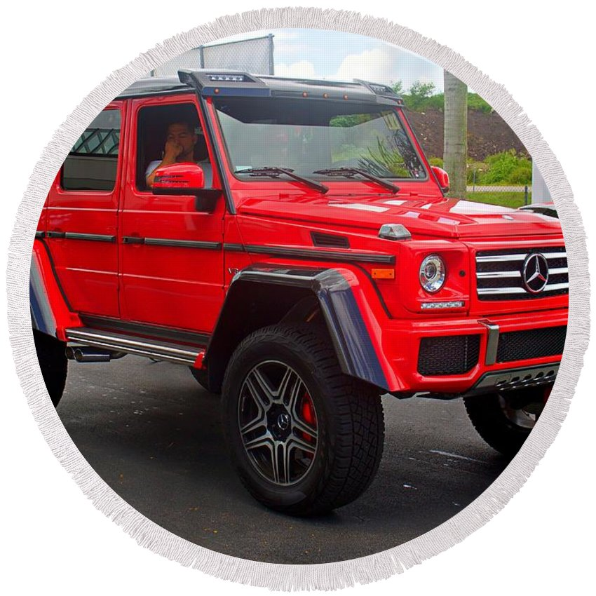 red mercedes g wagon round beach towel for salemark lamplugh