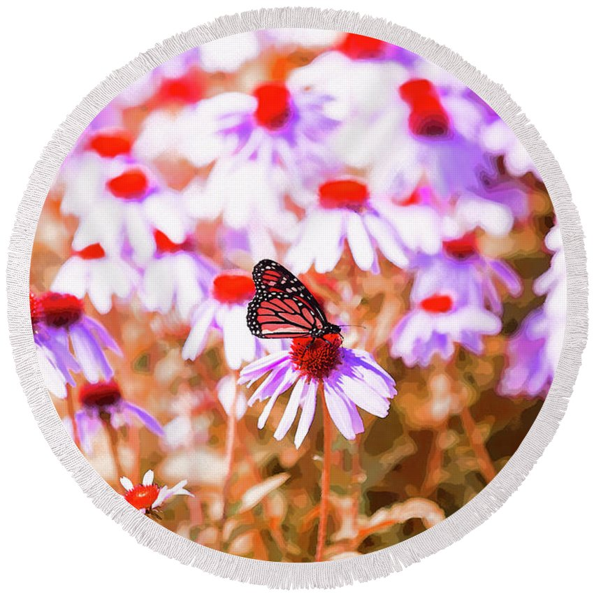 Butterfly Round Beach Towel featuring the digital art Red Monarch by David Stasiak