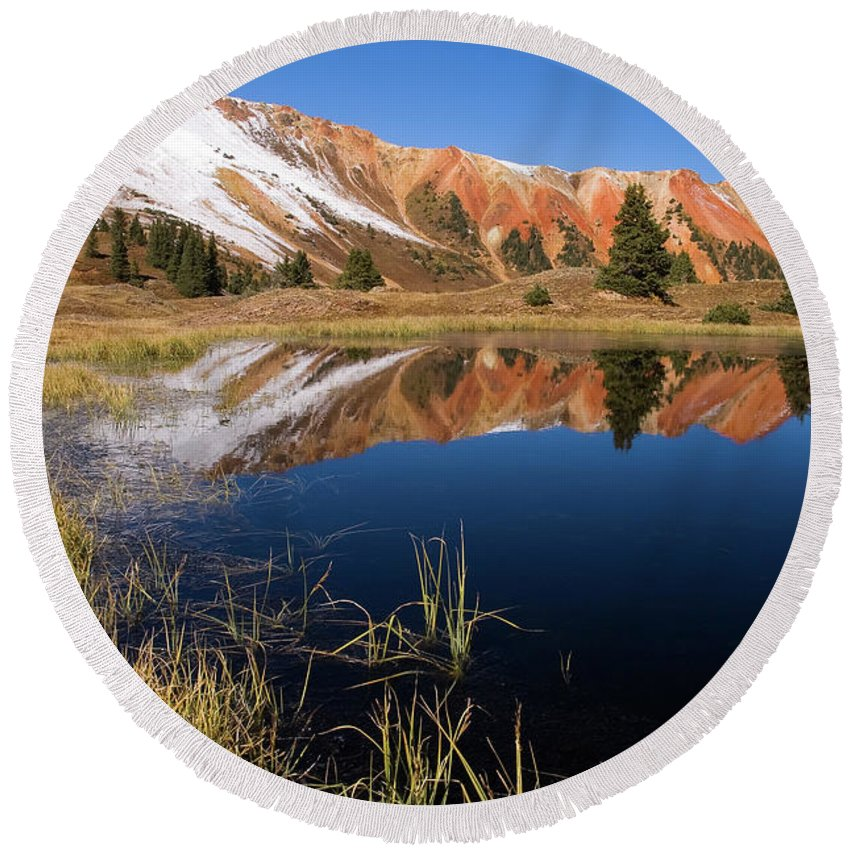 Colorado Round Beach Towel featuring the photograph Red Mountain Reflection by Steve Stuller