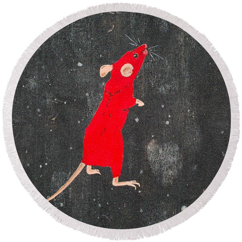 Mouse Round Beach Towel featuring the painting Red Mouse by Stefanie Forck