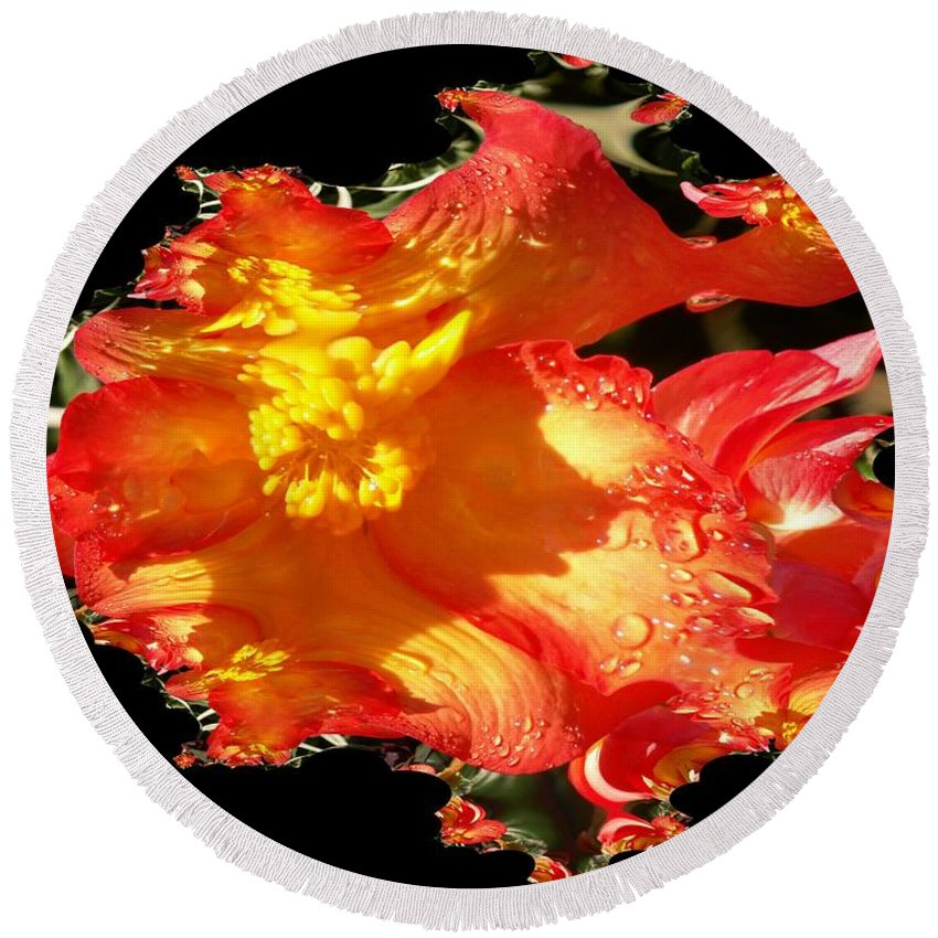 Flowers Round Beach Towel featuring the digital art Red N Yellow Flowers by Tim Allen