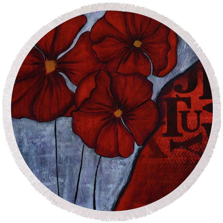 Round Beach Towel featuring the painting RED by Nadine J Larder