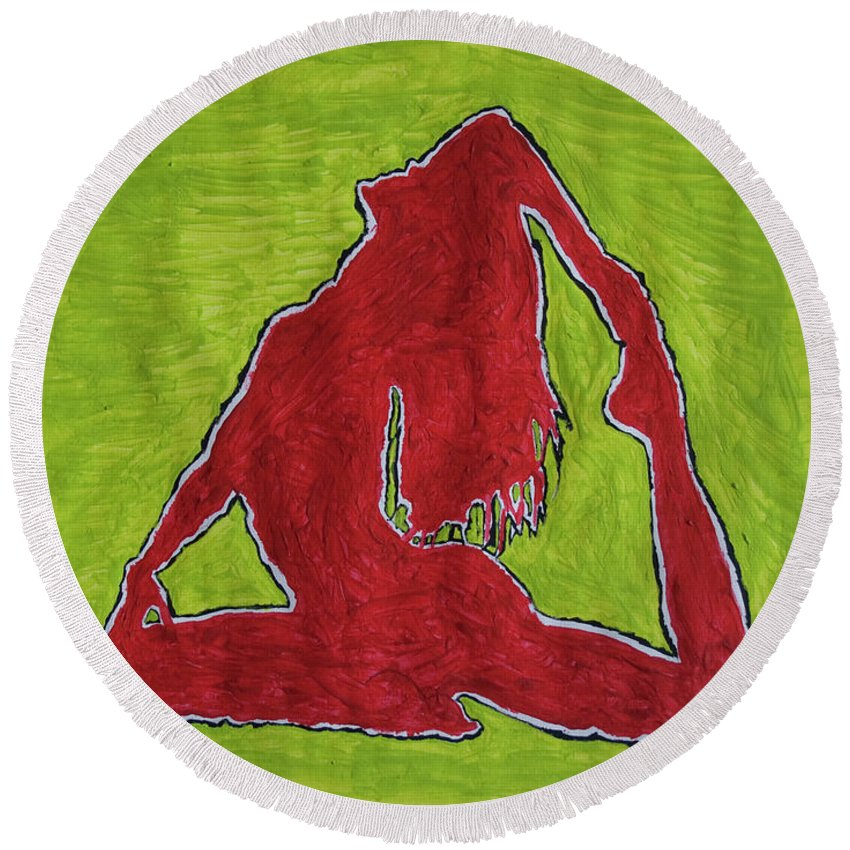 Nude Yoga Girl Round Beach Towel featuring the painting Red Nude Yoga Girl by Stormm Bradshaw