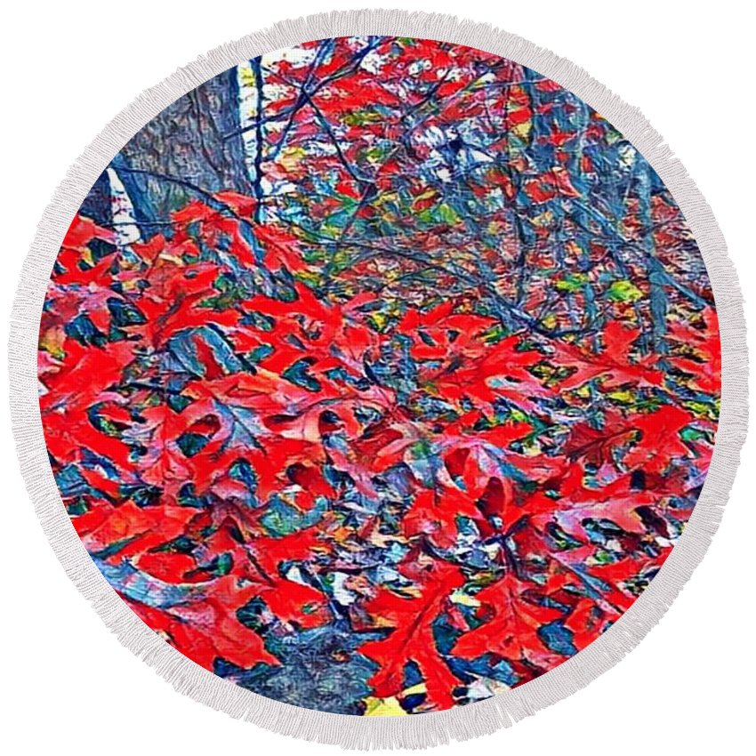 Mix Media Round Beach Towel featuring the mixed media Red Oak Leaves by MaryLee Parker