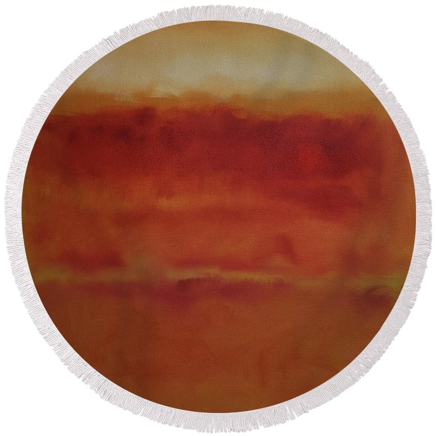 Rothko Round Beach Towel featuring the painting Red On Ochre 2 by John Welsh