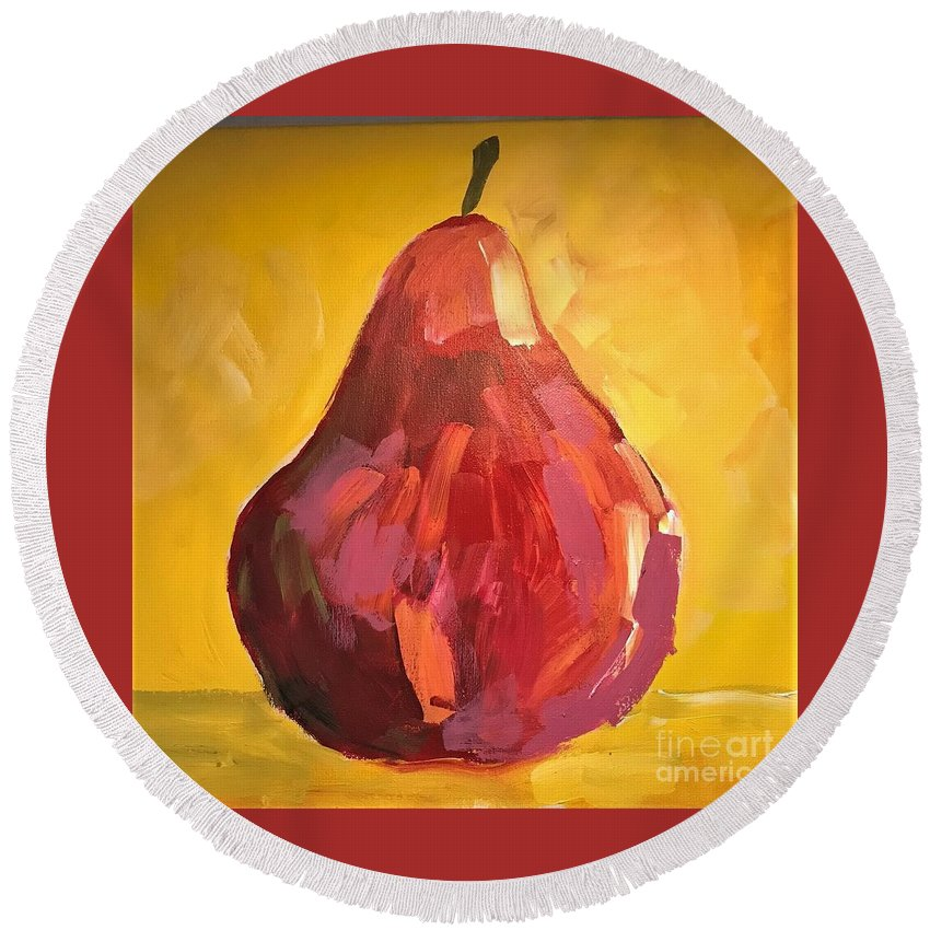 Pear Round Beach Towel featuring the painting Red Pear by Kate Speer Ely
