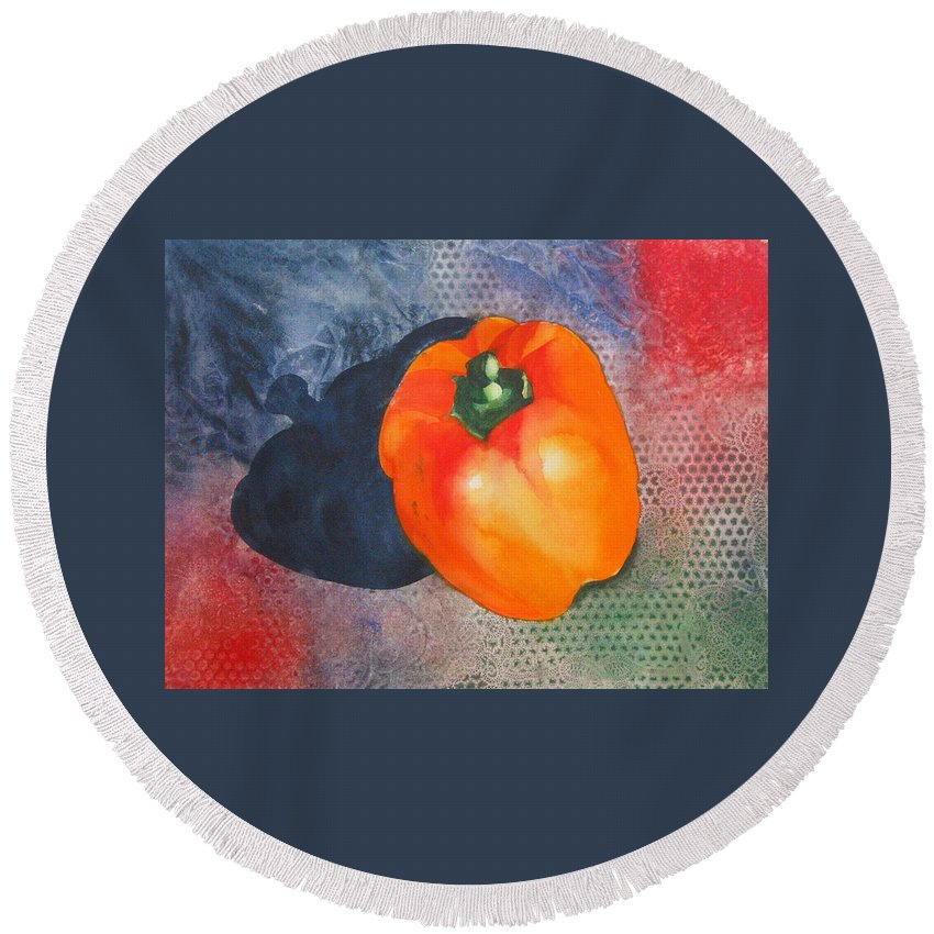 Pepper Round Beach Towel featuring the painting Red Pepper Solo by Jean Blackmer