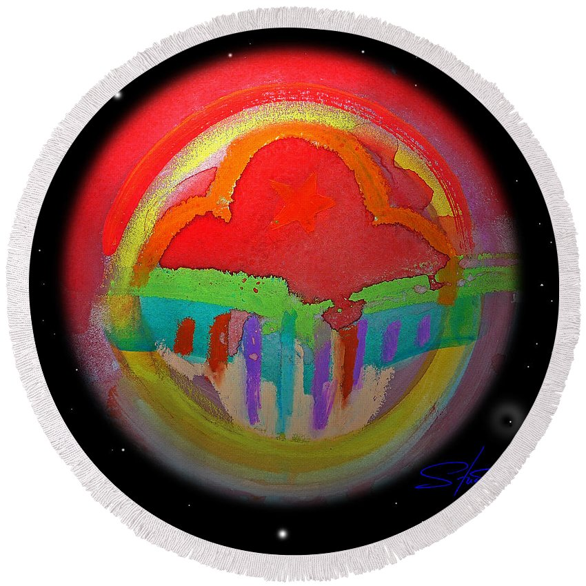 Landscape Round Beach Towel featuring the painting Red Planet by Charles Stuart